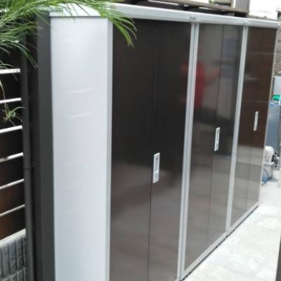新宿区 宿泊施設に物置を3台設置させていただきました